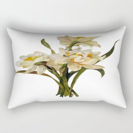 Double Narcissi In A Bouquet Isolated Rectangular Pillow