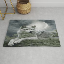 WOLF AND MOON Rug