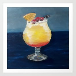 Fancy cocktail, romantic alcoholic drink, Oil painting by Luna Smith, LuArt Gallery, summer fruits Art Print