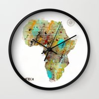 africa Wall Clocks featuring Africa by bri.buckley