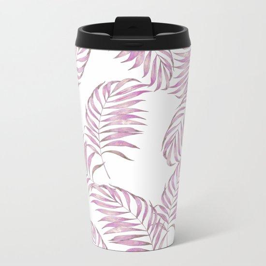 Pink Leaves Metal Travel Mug