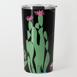 Contemporary Cacti Vector Art Travel Mug