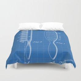 Hair Brush Patent - Salon Art - Blueprint Duvet Cover