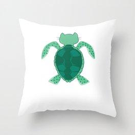 sea turtle cat guenon word joke gift Throw Pillow