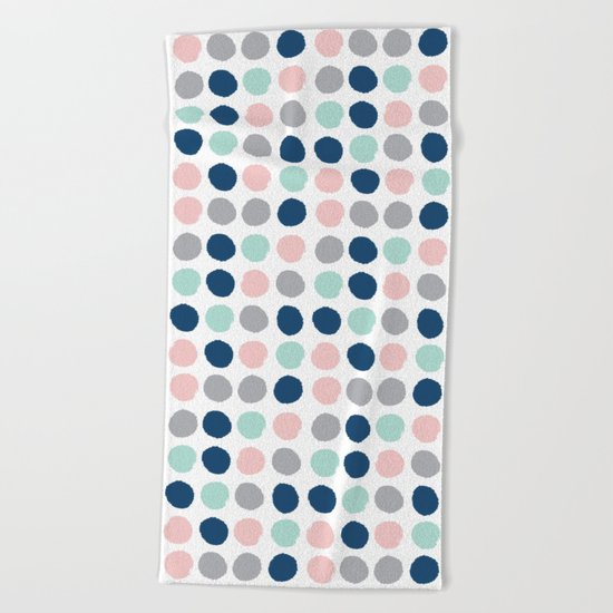 Zanthe - abstract trendy dots polka dots painted dot pattern blue pink pastel pantone color of the  Beach Towel