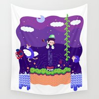 mario bros Wall Tapestries featuring Tiny Worlds - Super Mario Bros. 2: Luigi by Paperbeatsscissors