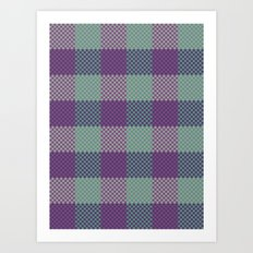 Pixel Plaid - Dark Seas Art Print