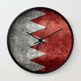 The flag of the Kingdom of Bahrain - Authentic version Wall Clock