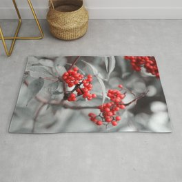 Rowanberry on black and white Rug