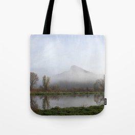 Foggy Morning Bluff Tote Bag