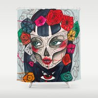 mexican Shower Curtains featuring Mexican SK by LucreziaU's Illustration