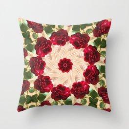 Old Red Rose Kaleidoscope 13 Throw Pillow