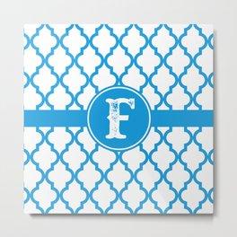 Blue Monogram: Letter F Metal Print