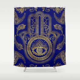 Hamsa Hand  - gold on lapis lazuli Shower Curtain