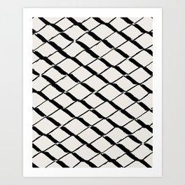 Modern Diamond Lattice Black on Light Gray Art Print