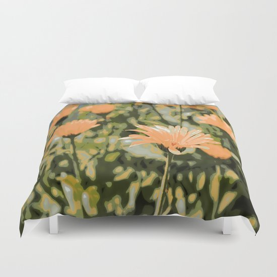 Early Evening Flower Garden Duvet Cover