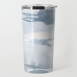 Pastel blue gray abstract watercolor brushstrokes stripes pattern Travel Mug