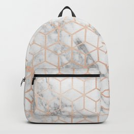 Marble & Rose Gold Squares Backpack