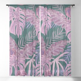 Pink Psychedelic Paradise Sheer Curtain