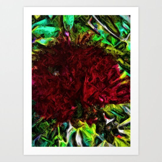 Red Flower in the Shadows and Bright Green Leaves Art Print