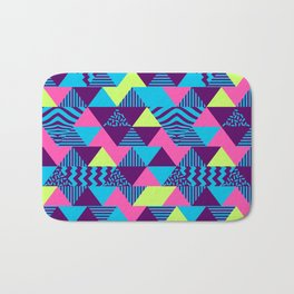 Vintage Retro 1980s 80s Nights New Wave Triangular Print Bath Mat