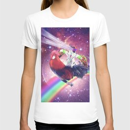 Lazer Rave Space Cat Riding Chicken With Taco T-shirt