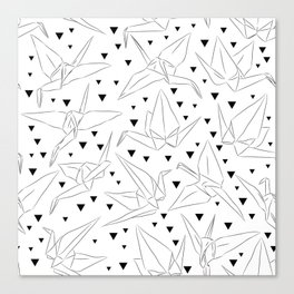 Japanese Origami white paper cranes sketch, symbol of happiness, luck and longevity Canvas Print