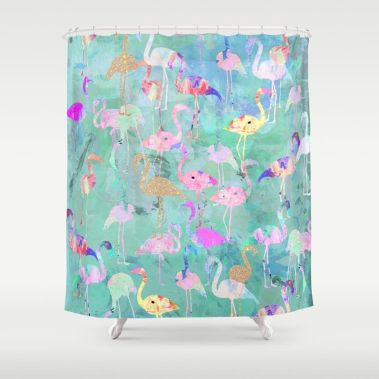 Flamingo Party Shower Curtain By Nikkistrange