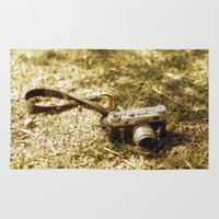 vintage camera Area & Throw Rugs featuring camera by inesmarinho