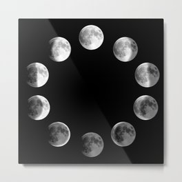 Phases of the Moon Metal Print