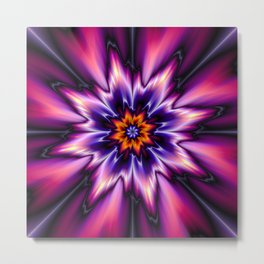 FRACTAL FLOWER PINK/BLUE/ORANGE Metal Print