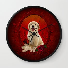 Cute little kitten with dog Wall Clock