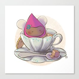 Poppette at tea time Canvas Print