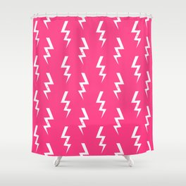 Bolts lightening bolt pattern pink and white minimal cute patterned gifts Shower Curtain