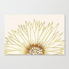 Gold Sunflower II - Wide Pastel Metallic Palette Canvas Print