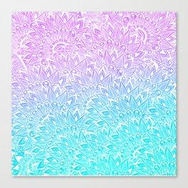 White mandala henna pattern illustration Mermaid purple turquoise watercolor floral pattern Canvas Print