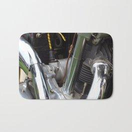 Heavy Metal - close up of a 1970s motorbike engine Bath Mat