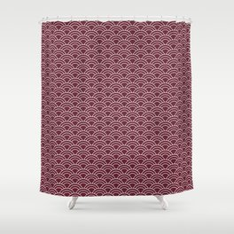 Seigaiha red and white japanese waves Shower Curtain