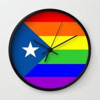 puerto rico Wall Clocks featuring puerto rico gay people homosexual flag rainbow by tony tudor