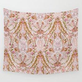 Orange Pink Leaf Flower Paisley Wall Tapestry