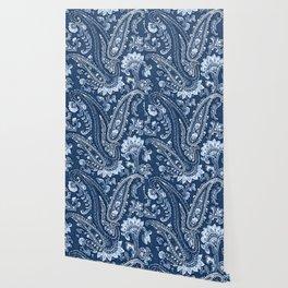 Blue indigo paisley Wallpaper
