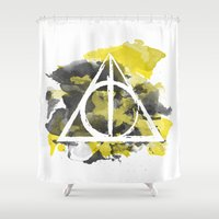 hufflepuff Shower Curtains featuring The Deathly Hallows (Hufflepuff) by FictionTea