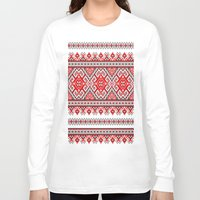 ukraine Long Sleeve T-shirts featuring Ukraine-ornament 2 by  Nikolay Ampilogow