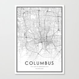 Columbus City Map United States White and Black Canvas Print