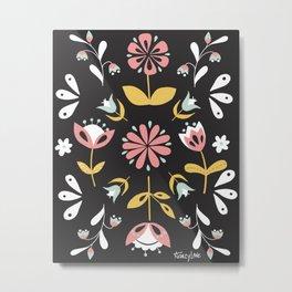 Black and White Folk Art Floral Pattern Design Metal Print