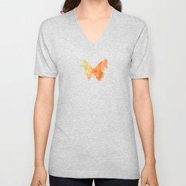 Orange Watercolor Butterfly Unisex V-Neck