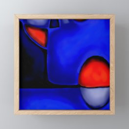 Abstraction in Lapis and Red Framed Mini Art Print