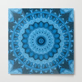 Kaleidoscope Blue sunflower Metal Print
