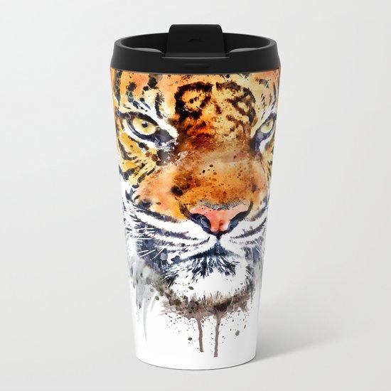 Tiger Face Close-up Metal Travel Mug