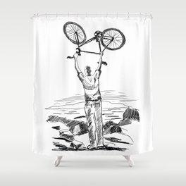 Bike Contemplation - light background Shower Curtain